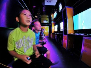 Kids at video game truck party in Greenville NC
